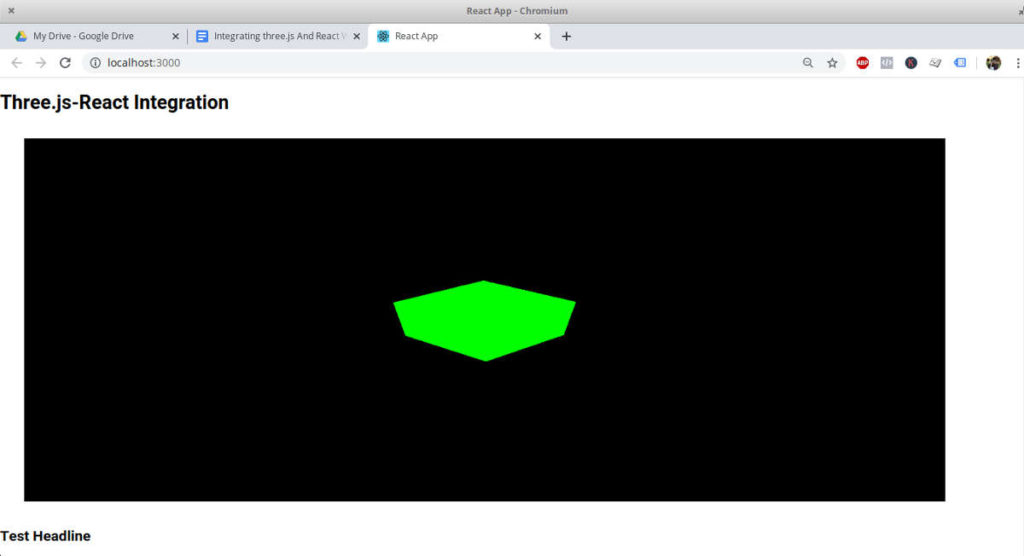 three.js scene added to the react-dom