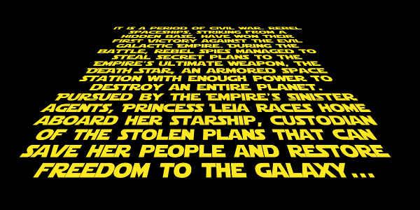 Screenshot of the Star Wars crawling intro generator