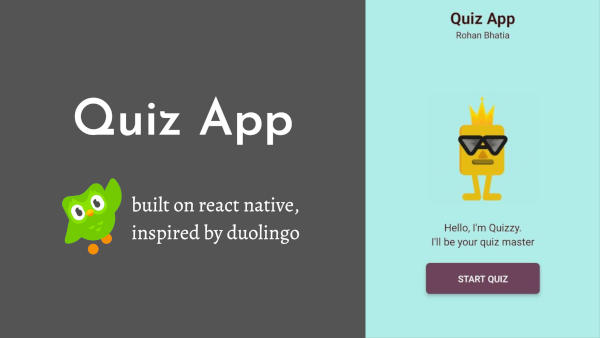 Duolingo inspired quiz app made by Rohan Bhatia on react native